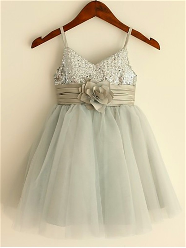 A-line/Princess Spaghetti Straps Tulle Sleeveless Tea-Length Flower Girl Dresses