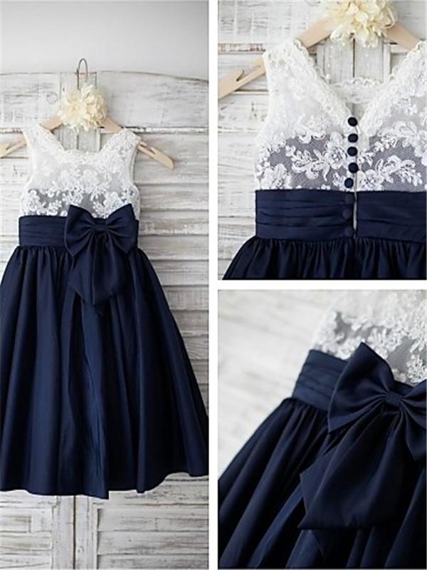 A-line/Princess Straps Taffeta Sleeveless Tea-Length Flower Girl Dresses