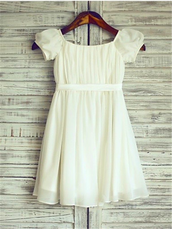 A-line/Princess Square Chiffon Short Sleeves Tea-Length Flower Girl Dresses