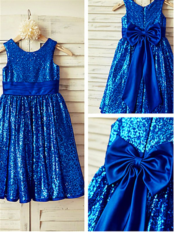 A-line/Princess Scoop Sequins Sleeveless Tea-Length Flower Girl Dresses