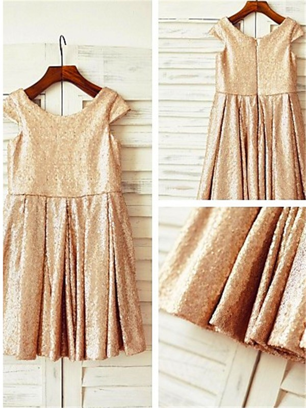 A-line/Princess Scoop Sequins Short Sleeves Tea-Length Flower Girl Dresses