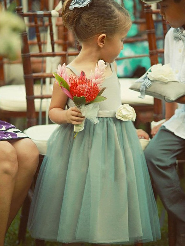 A-Line/Princess Square Tulle Sleeveless Tea-Length Flower Girl Dresses