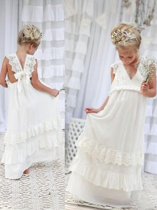 Empire V-neck Chiffon Sleeveless Floor-Length Flower Girl Dresses