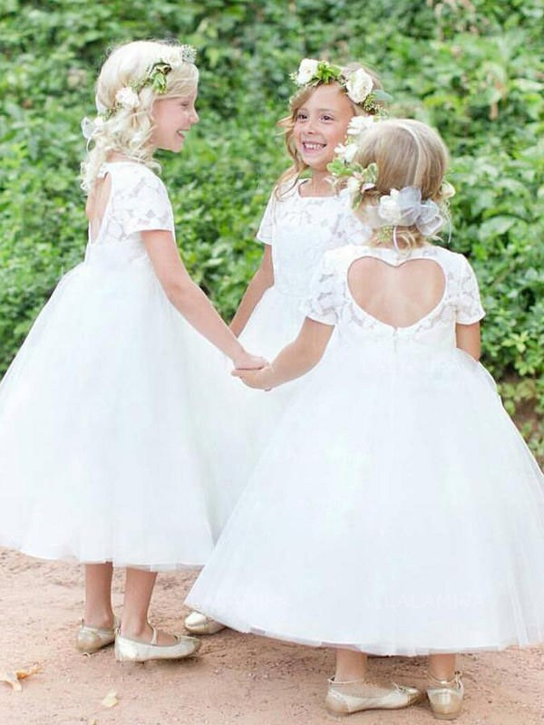Ball Gown Scoop Tulle Short Sleeves Tea-Length Flower Girl Dresses
