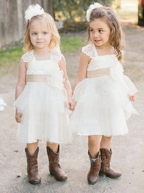 A-Line/Princess Square Tulle Sleeveless Knee-Length Flower Girl Dresses