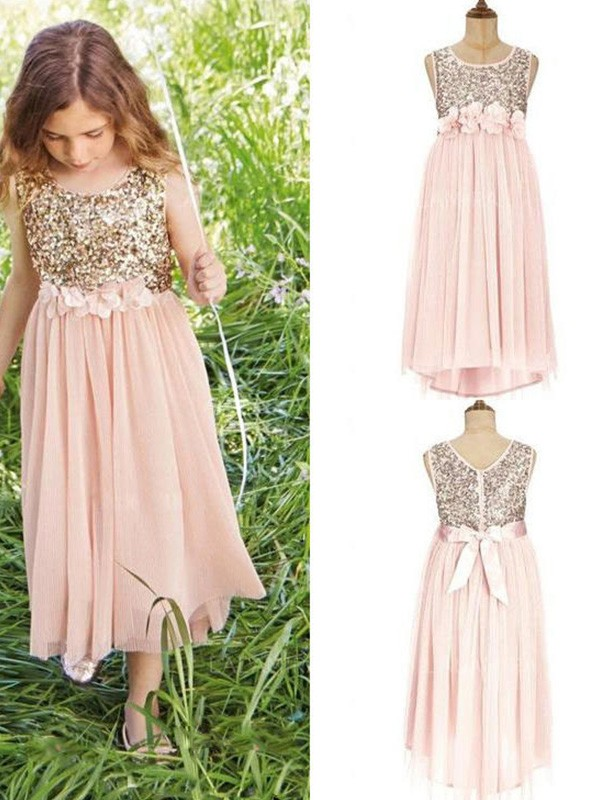 A-Line/Princess Scoop Chiffon Sleeveless Asymmetrical Flower Girl Dresses