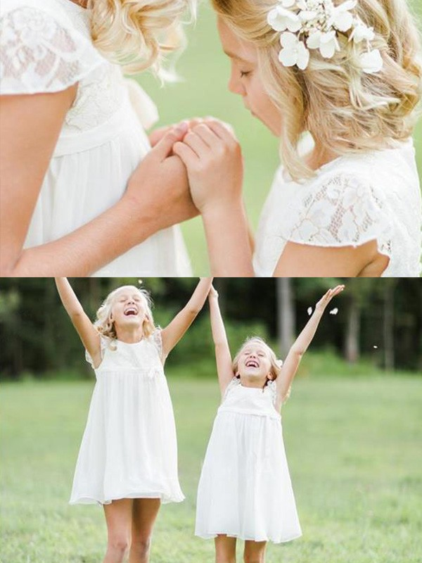 A-Line/Princess Scoop Chiffon Short Sleeves Knee-Length Flower Girl Dresses