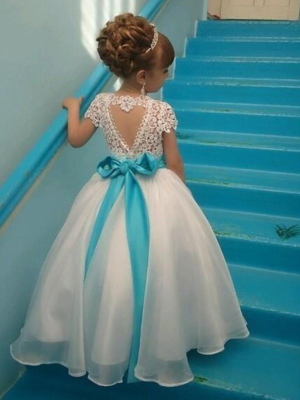 Ball Gown Scoop Organza Short Sleeves Floor-Length Flower Girl Dresses