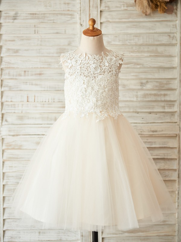 A-Line/Princess Scoop Tulle Sleeveless Knee-Length Flower Girl Dresses