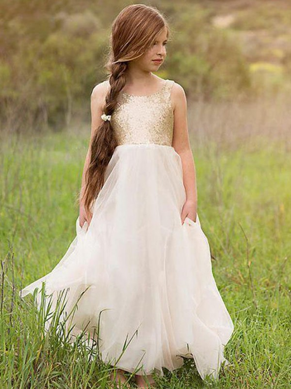 A-Line/Princess Scoop Tulle Sleeveless Floor-Length Flower Girl Dresses