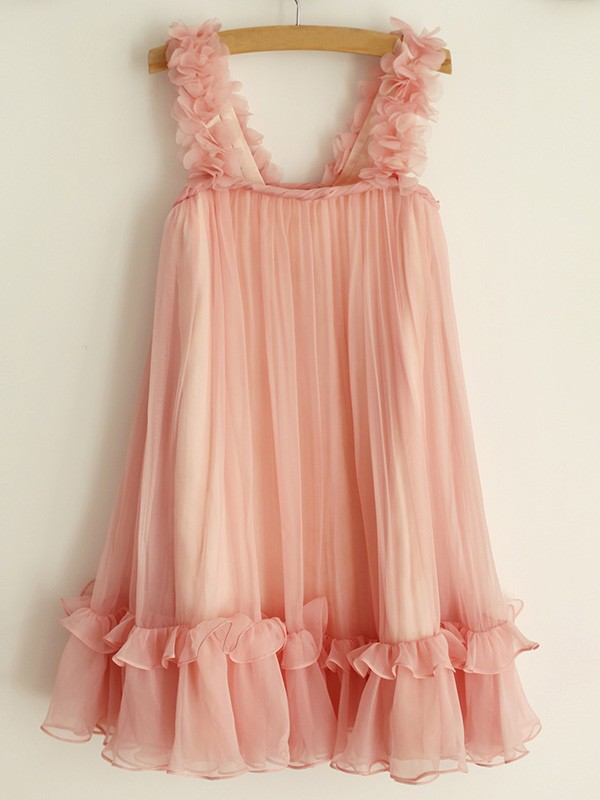 A-Line/Princess Straps Chiffon Sleeveless Knee-Length Flower Girl Dresses