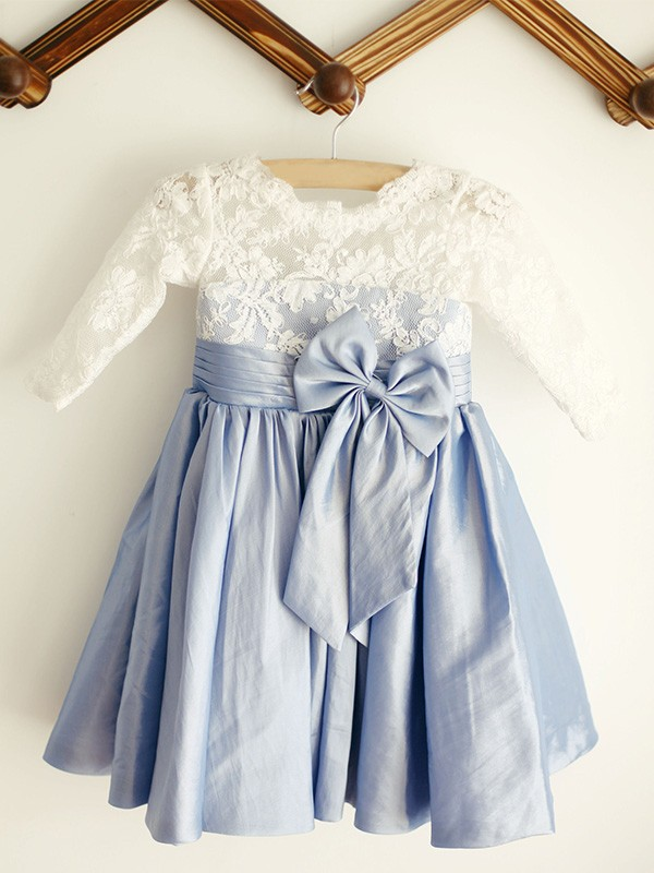 A-Line/Princess Scoop Taffeta Long Sleeves Knee-Length Flower Girl Dresses