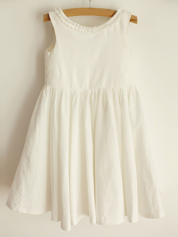 A-Line/Princess Scoop Spandex Sleeveless Knee-Length Flower Girl Dresses