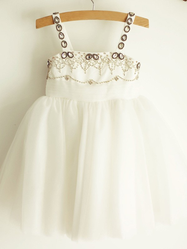 A-Line/Princess Straps Tulle Sleeveless Knee-Length Flower Girl Dresses