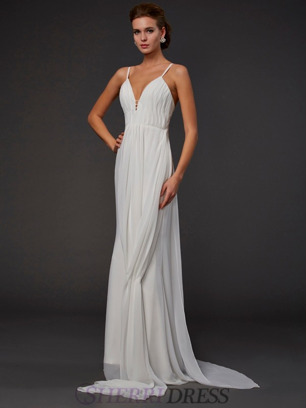 Trumpet/Mermaid V-neck Chiffon Sleeveless Floor-Length Dresses