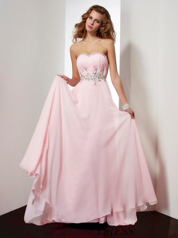 A-Line/Princess Sweetheart Chiffon Sleeveless Sweep/Brush Train Dresses