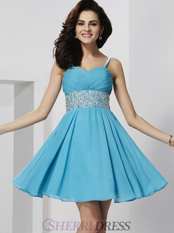 A-Line/Princess Spaghetti Straps Chiffon Sleeveless Short/Mini Dresses