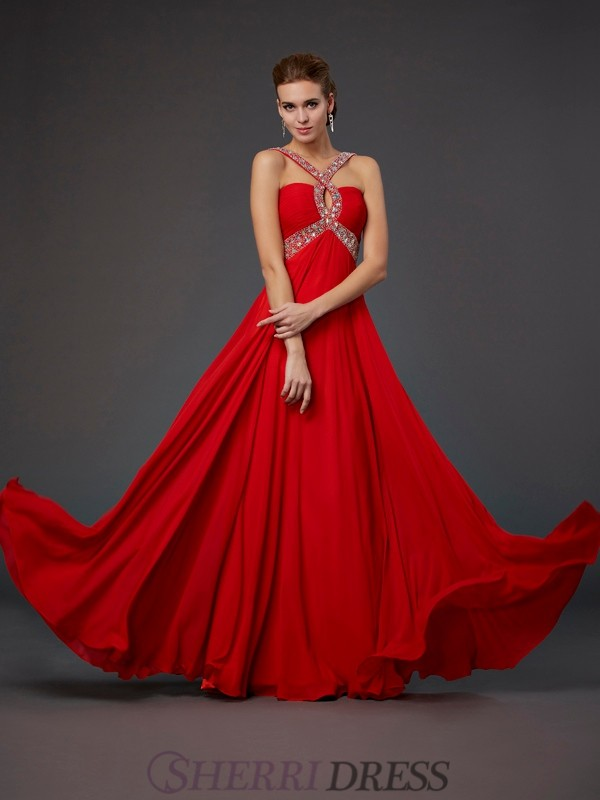 Sheath/Column Halter Chiffon Sleeveless Floor-Length Dresses