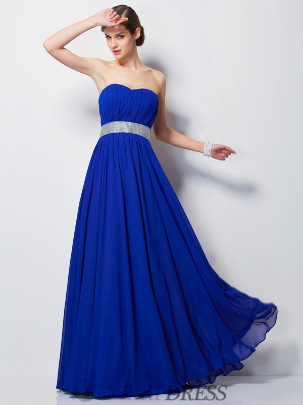 Empire Sweetheart Chiffon Sleeveless Floor-Length Dresses