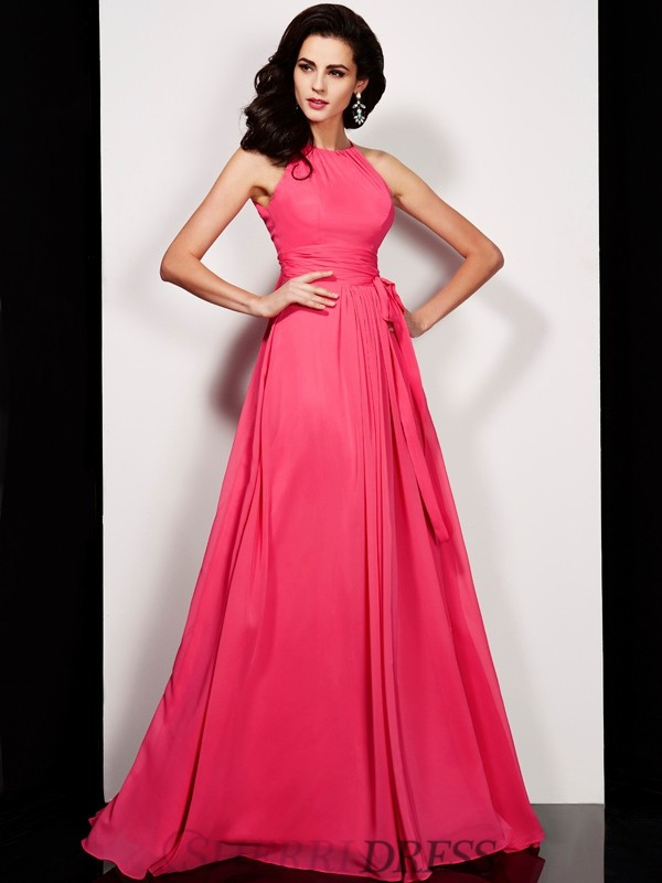 A-Line/Princess High Neck Chiffon Sleeveless Floor-Length Dresses
