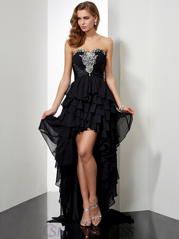A-Line/Princess Sweetheart Chiffon Sleeveless Asymmetrical Dresses