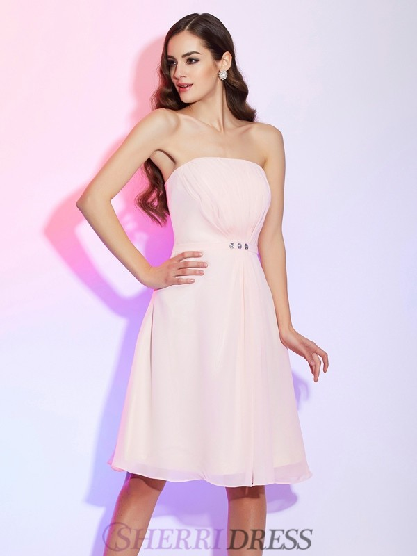 Sheath/Column Strapless Chiffon Sleeveless Knee-Length Bridesmaid Dresses