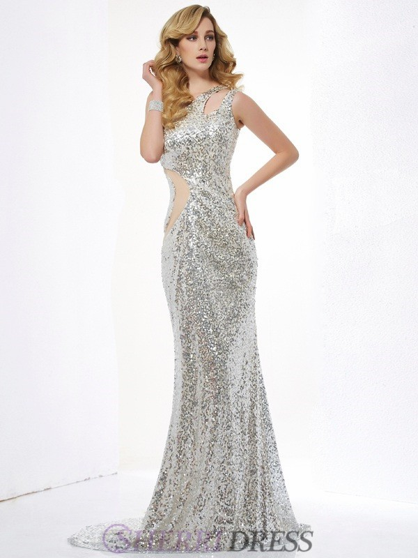 Trumpet/Mermaid One-Shoulder Sequins Sleeveless Sweep/Brush Train Dresses