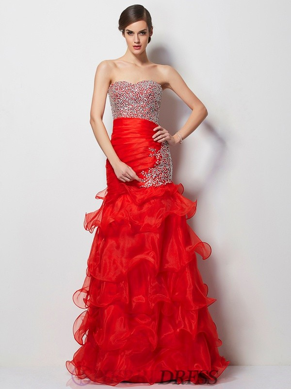 Trumpet/Mermaid Sweetheart Tulle Sleeveless Floor-Length Dresses