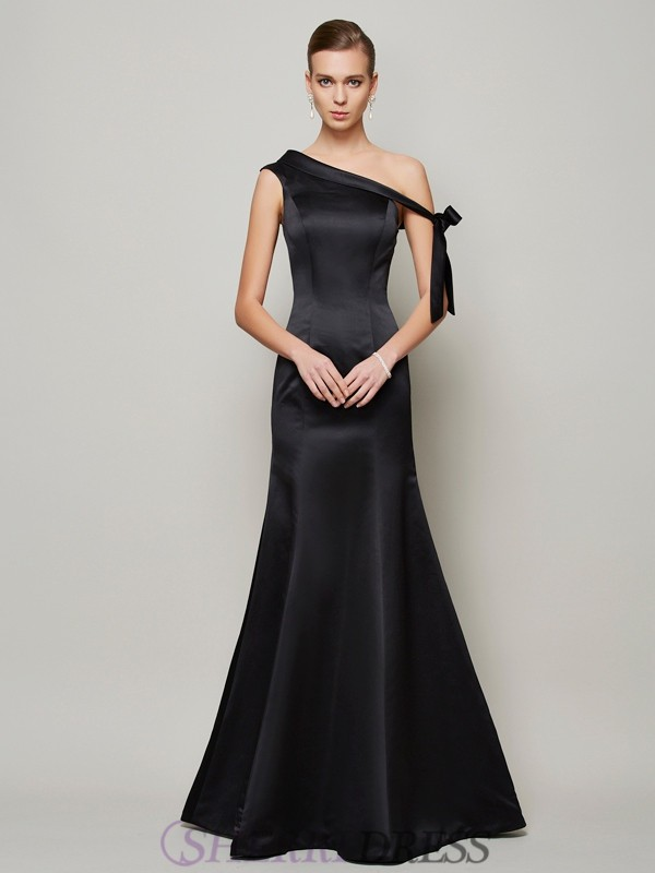 Trumpet/Mermaid One-Shoulder Satin Sleeveless Floor-Length Dresses