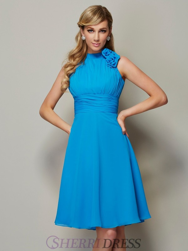 A-Line/Princess High Neck Chiffon Sleeveless Knee-Length Bridesmaid Dresses