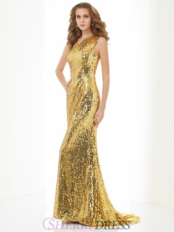 Sheath/Column One-Shoulder Sequins Sleeveless Sweep/Brush Train Dresses
