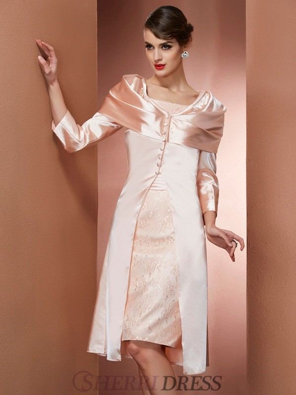 Sheath/Column Square Elastic Woven Satin Sleeveless Knee-Length Dresses