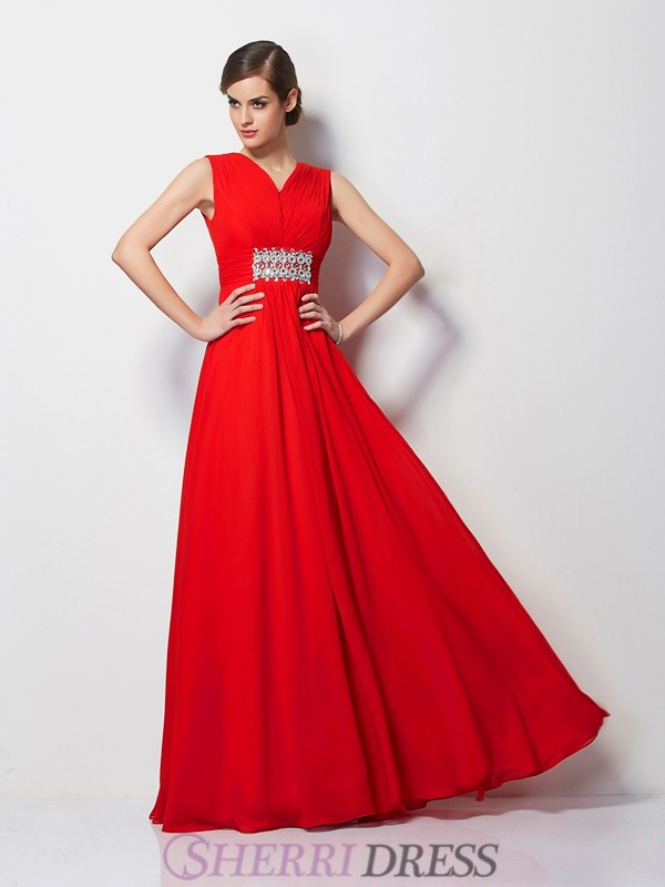 Sheath/Column V-neck Chiffon Short Sleeves Floor-Length Dresses