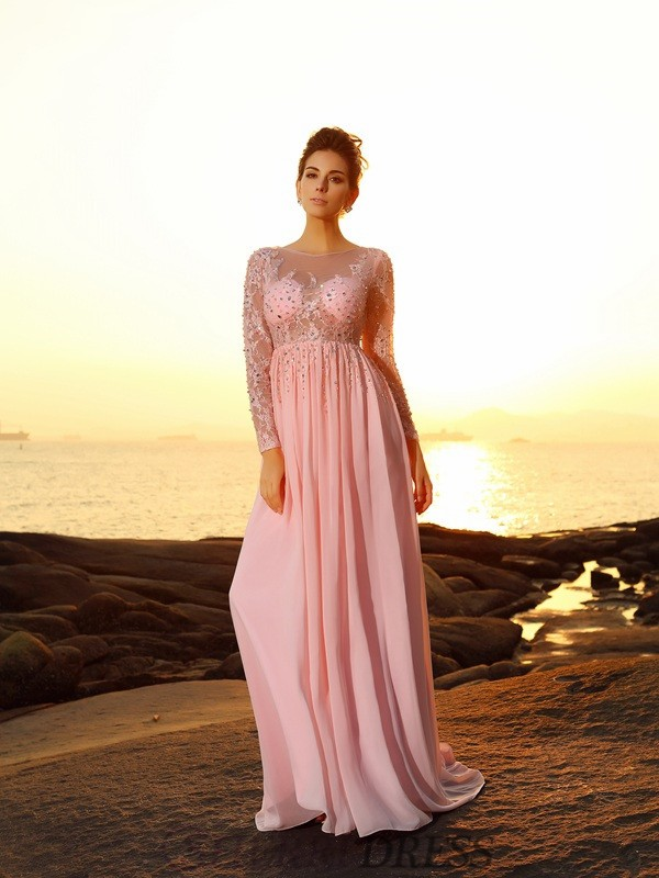 A-Line/Princess Bateau Chiffon Long Sleeves Sweep/Brush Train Dresses
