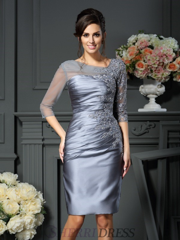 Sheath/Column Scoop Satin 1/2 Sleeves Knee-Length Mother of the Bride Dresses