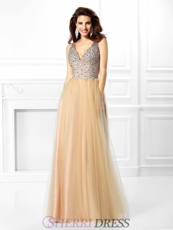 Ball Gown V-neck Satin Sleeveless Floor-Length Dresses