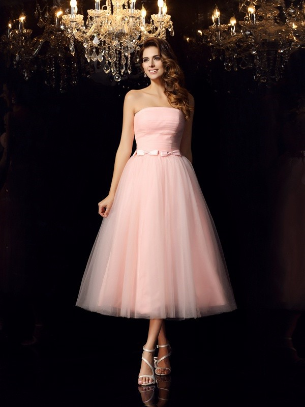 Ball Gown Strapless Satin Sleeveless Tea-Length Prom Dresses