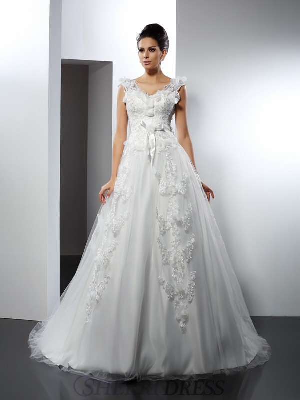 A-Line/Princess Straps Satin Sleeveless Cathedral Train Wedding Dresses