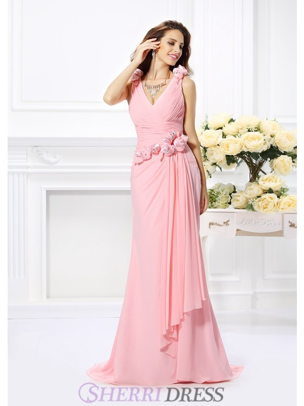 Trumpet/Mermaid V-neck Chiffon Sleeveless Sweep/Brush Train Bridesmaid Dresses