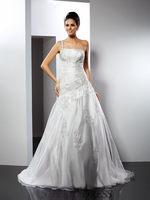 A-Line/Princess One-Shoulder Satin Sleeveless Chapel Train Wedding Dresses
