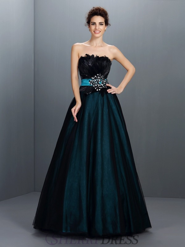 Ball Gown Strapless Elastic Woven Satin Sleeveless Floor-Length Prom Dresses