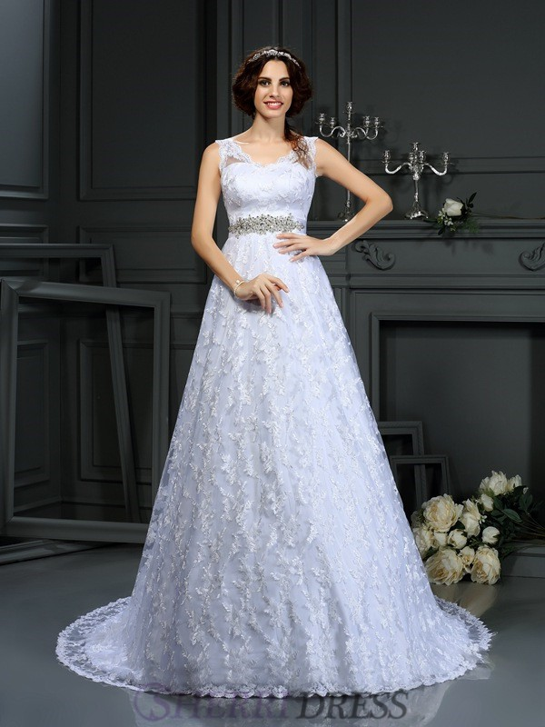 A-Line/Princess V-neck Satin Sleeveless Court Train Wedding Dresses