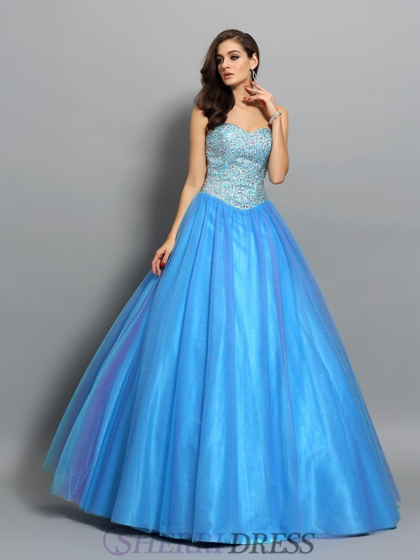 Ball Gown Sweetheart Elastic Woven Satin Sleeveless Floor-Length Prom Dresses