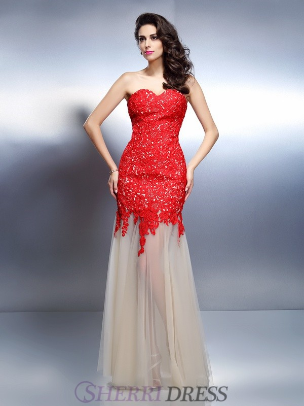 A-Line/Princess Sweetheart Net Sleeveless Floor-Length Dresses