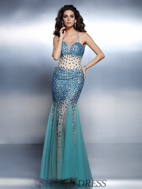 Trumpet/Mermaid Spaghetti Straps Satin Sleeveless Floor-Length Dresses