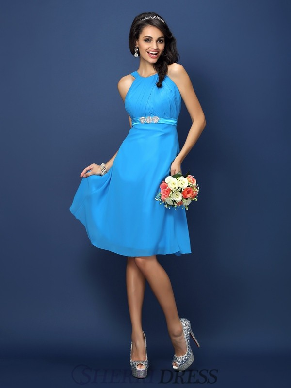 A-Line/Princess Bateau Chiffon Sleeveless Knee-Length Bridesmaid Dresses