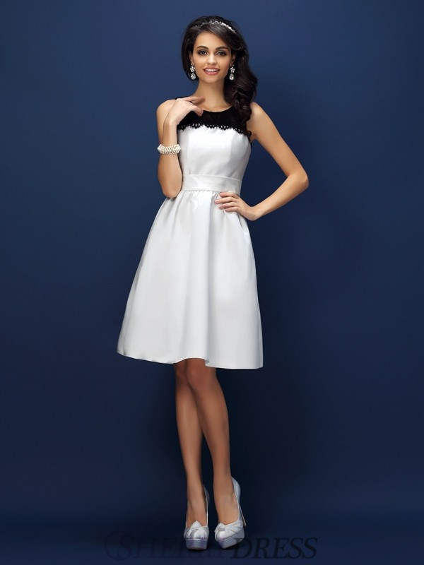 Sheath/Column Bateau Satin Sleeveless Knee-Length Bridesmaid Dresses