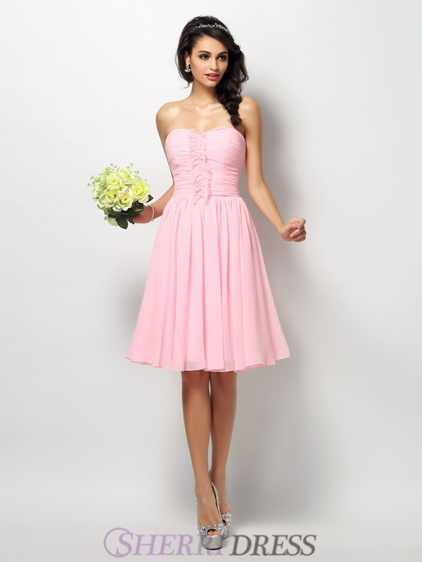 A-Line/Princess Strapless Chiffon Sleeveless Knee-Length Bridesmaid Dresses