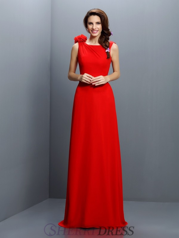 A-Line/Princess Bateau Chiffon Sleeveless Sweep/Brush Train Bridesmaid Dresses