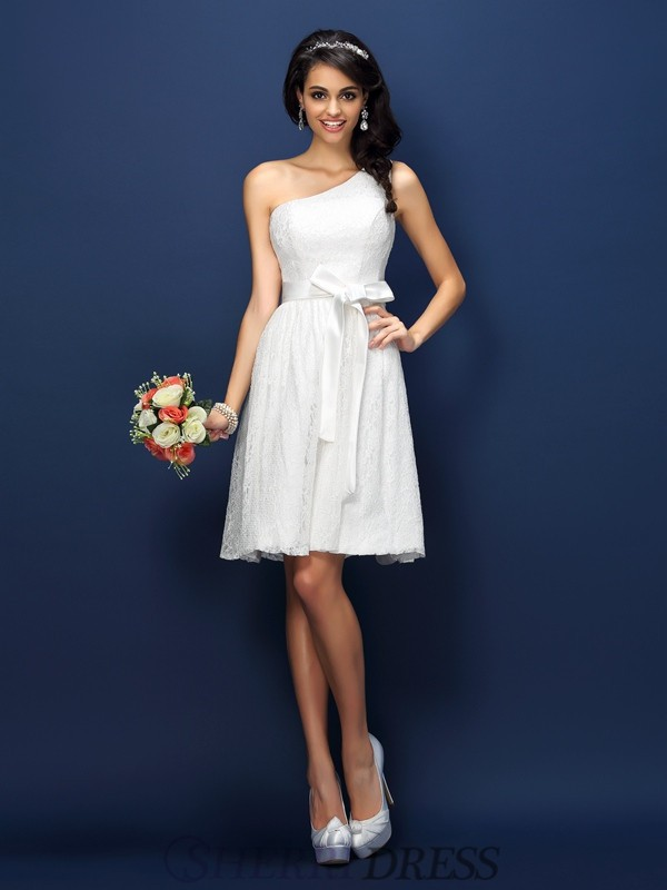 A-Line/Princess One-Shoulder Lace Sleeveless Short/Mini Bridesmaid Dresses